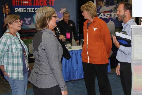 NFCA 2013 Convention San Antonio TX - Cindy taking with Kirk Walker (UCLA), Connie Clark (Texas), and former teammate Kathy Copelin