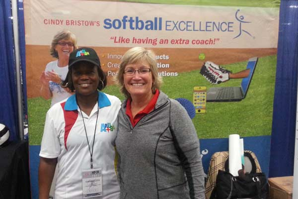 NFCA 2013 Convention San Antonio TX - Cindy posing with Softball Coach from Aruba