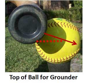 power of half inch hit hitter hitting top ball grounder