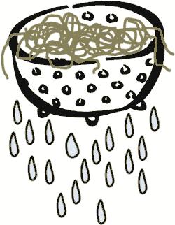 good stuff bad plays spaghetti sieve noodles water