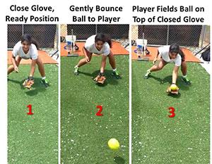 infielder close glove bounce ball field top closed glove