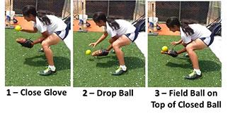 close glove infielder drop ball field top closed ball