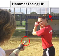 hammer help hitter hitters fastpitch hitting hand patch simple ball bat path facing up
