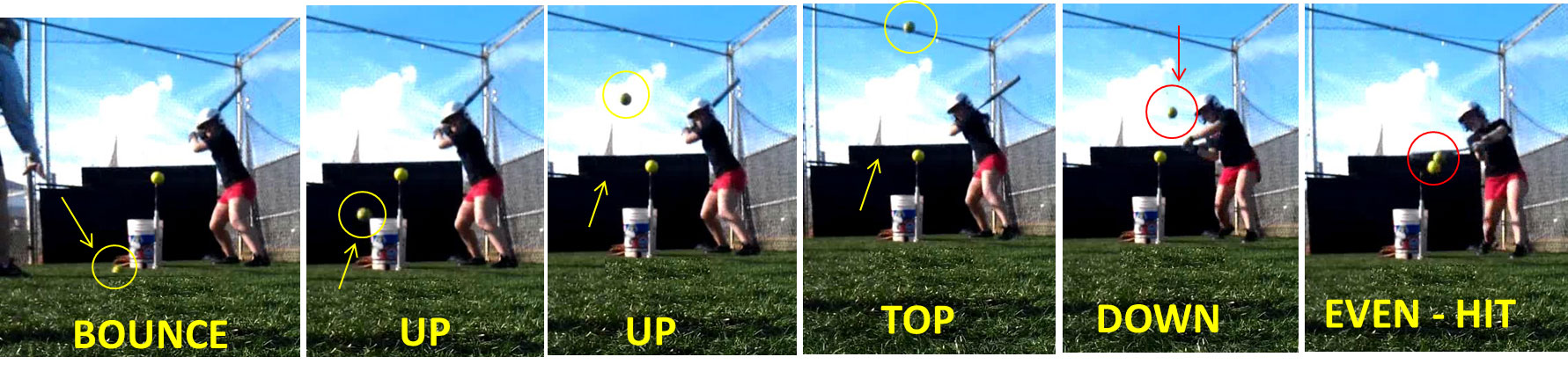 timing drill batting t tee teaching tool hitter hitters mechanics practice patience bounce up top down even hit