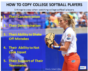 how copy college softball players concentration determination shake off mistakes upset support teammates