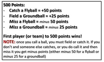 500 Points Competitiveness Throwback Game Player Team Flyball Groundball Catch Miss Player Team