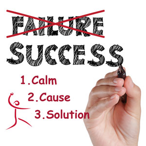 3 steps overcoming failure solution calm figure cause solution effort