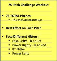 75 Pitch Challenge Workout Throwing Pitching Rest Arm Game