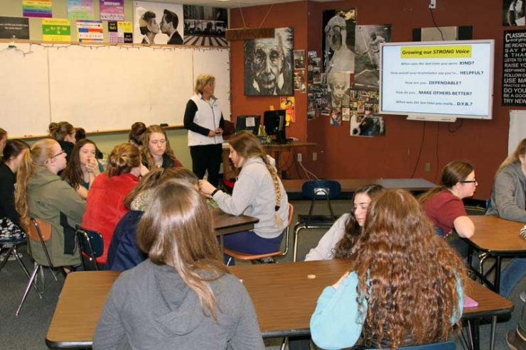2017 Cindy Bristow teaching at Homer High School Female Athlete Mentoring Session