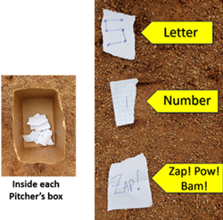 inside pitcher's box letter number batman workout challenging fun